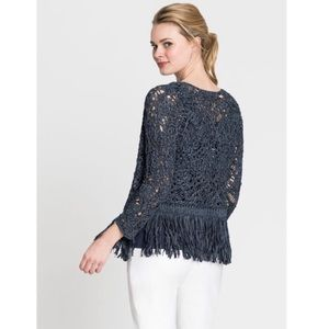 NIC+ZOE | Fiji Waves Blue Knit Fringe Cardigan